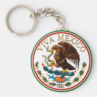 Icono de la bandera mexicana de Viva México con el Llavero Redondo Tipo Pin