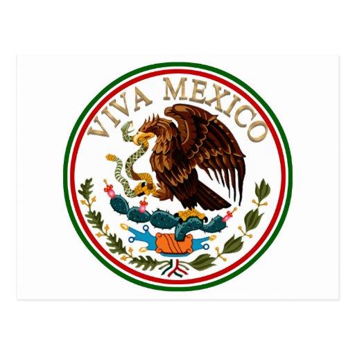Icono de la bandera mexicana de Viva México con el Tarjetas Postales