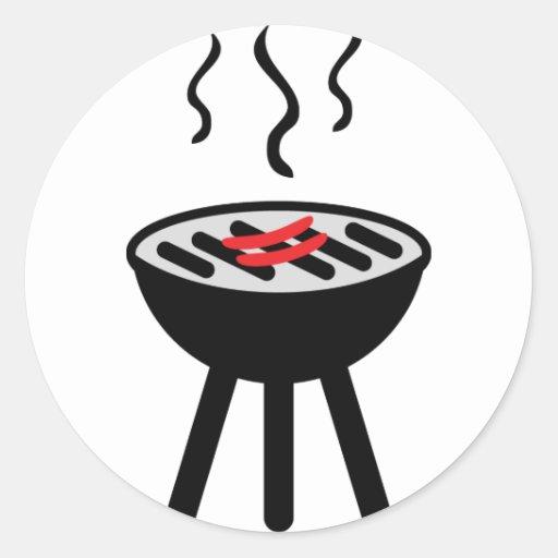 icono de la barbacoa etiquetas redondas