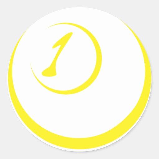 Icono de la bola del billar uno pegatina redonda