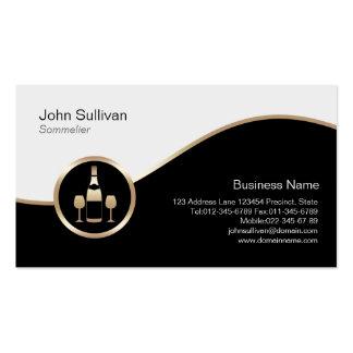 Icono de la botella de vino del oro de la tarjeta tarjetas de visita
