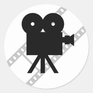 icono de la cámara de la película pegatina redonda