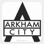 Icono de la ciudad de Arkham Pegatina Cuadrada