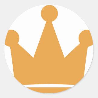 icono de la corona del fiesta pegatina redonda