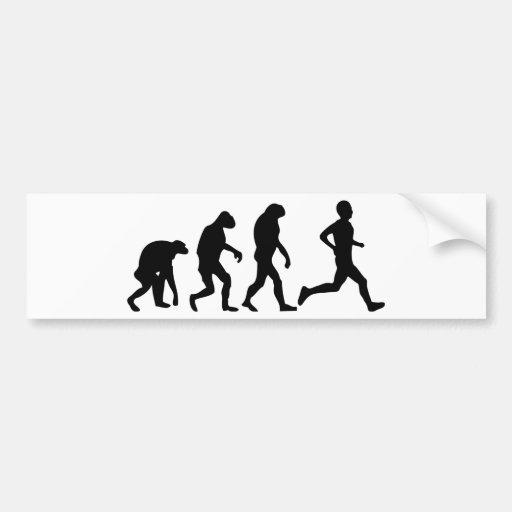icono de la evolución del corredor etiqueta de parachoque