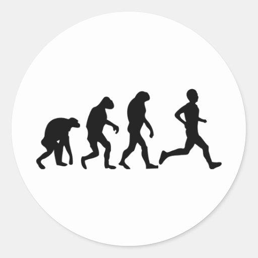 icono de la evolución del corredor pegatina redonda