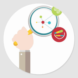 Icono de la investigación de la DNA del genoma Pegatina Redonda