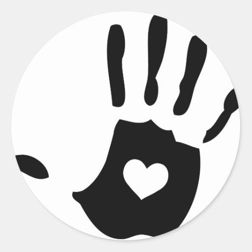 Icono de la mano del corazón pegatina redonda