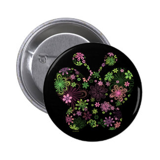 ICONO de la mariposa de la flor Pin Redondo De 2 Pulgadas