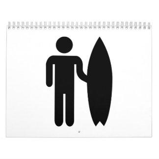 Icono de la persona que practica surf calendario de pared