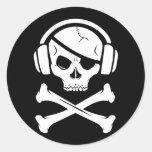 Icono de la piratería anti-RIAA del pirata de la Pegatina Redonda