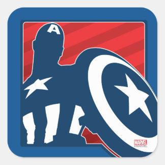 Icono de la silueta de capitán América Pegatina Cuadrada