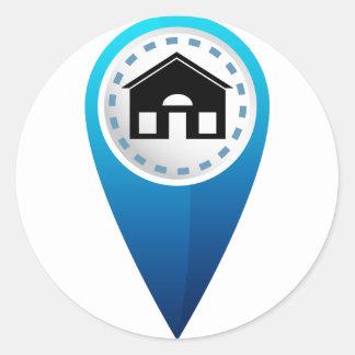 Icono de la ubicación casera pegatina redonda