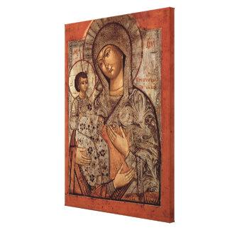 Icono de la Virgen bendecida con tres manos Impresiones En Lona Estiradas