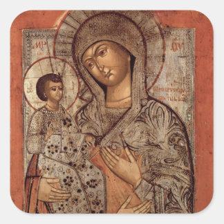 Icono de la Virgen bendecida con tres manos Pegatina Cuadrada