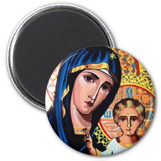 Icono de la Virgen del rumano de Kazán en el vient Imán Redondo 5 Cm