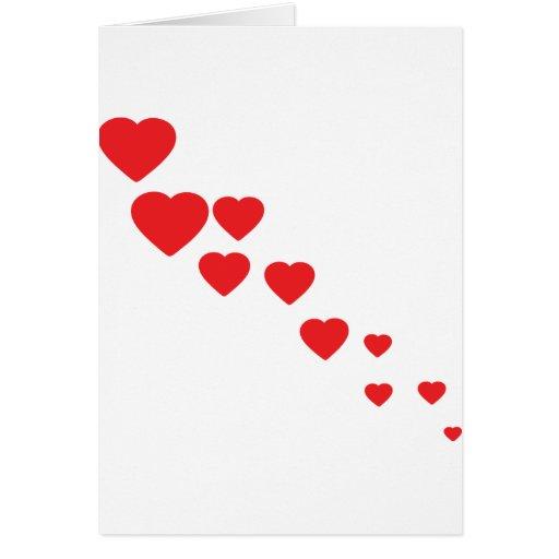 icono de los corazones del vuelo tarjeta de felicitación