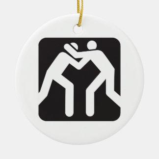 Icono de los luchadores adorno navideño redondo de cerámica