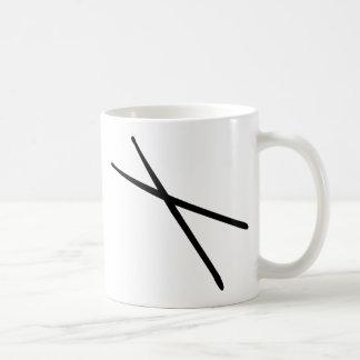 icono de los palillos taza básica blanca