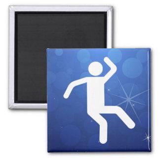 Icono de los pasos de danza imán cuadrado