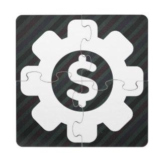 Icono de los problemas de las finanzas posavasos de puzzle