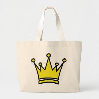 icono de oro de la corona bolsa tela grande