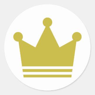 icono de oro de la corona del fiesta etiqueta redonda
