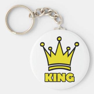 icono de oro de la corona del rey llavero redondo tipo pin