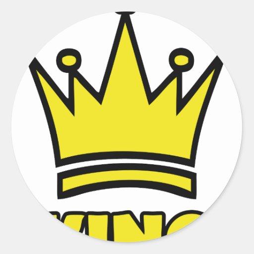 icono de oro de la corona del rey pegatinas redondas
