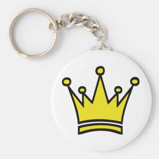 icono de oro de la corona llavero redondo tipo pin
