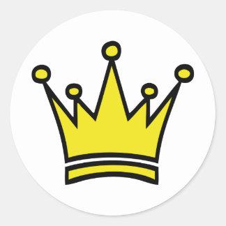 icono de oro de la corona pegatina redonda