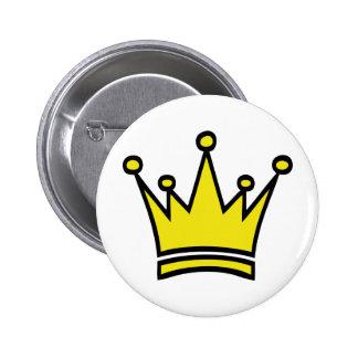 icono de oro de la corona pin redondo 5 cm