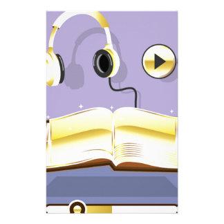Icono de oro del arte del vector del audiolibro papelería