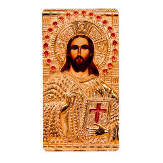 Icono de oro del Jesucristo Etiquetas De Envío