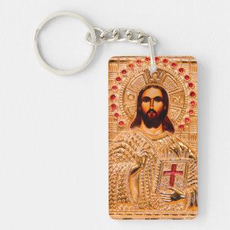 Icono de oro del Jesucristo Llavero Rectangular Acrílico A Una Cara