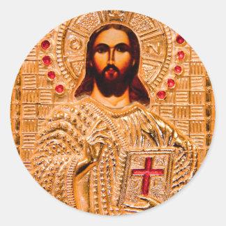 Icono de oro del Jesucristo Pegatina Redonda