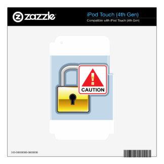 Icono de oro del vector de la cerradura de la calcomanía para iPod touch 4G