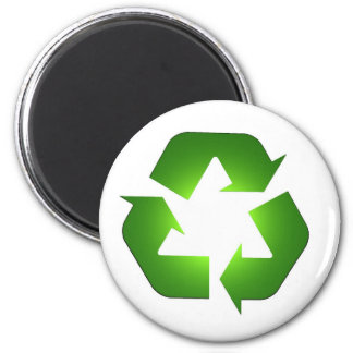 Icono de reciclaje verde en 3D Imán De Frigorífico