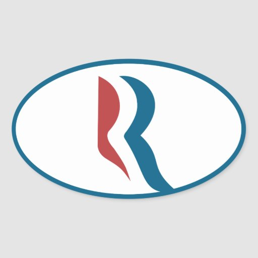Icono de Romney Pegatina Ovalada