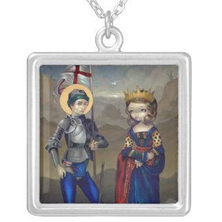 Icono de San Jorge y de princesa Sabra NECKLACE Collar Plateado