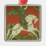 Icono de San Jorge y del dragón Adorno Navideño Cuadrado De Metal