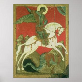 Icono de San Jorge y del dragón Poster