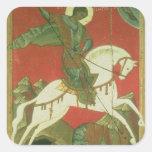 Icono de San Jorge y del dragón Calcomanías Cuadradas