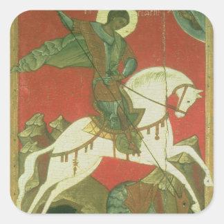 Icono de San Jorge y del dragón Calcomanias Cuadradas
