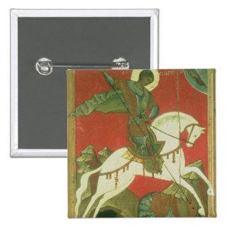Icono de San Jorge y del dragón Pin Cuadrado