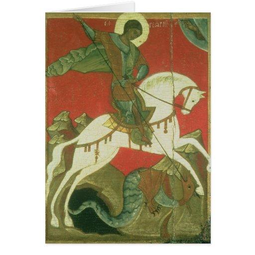 Icono de San Jorge y del dragón Tarjeta De Felicitación