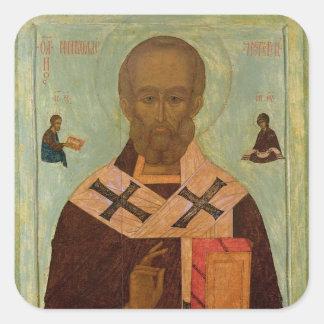Icono de San Nicolás Pegatina Cuadrada