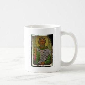 Icono de San Patricio en verde Taza Básica Blanca