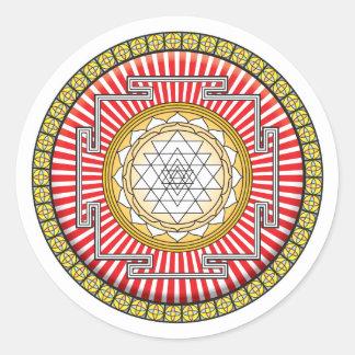 Icono de Shri Yantra Pegatina Redonda