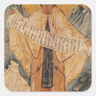 Icono de St. Sabas de Jerusalén, 1572 Pegatina Cuadrada